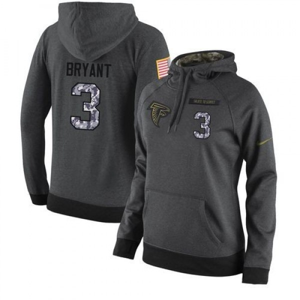 Women's NFL Atlanta Falcons #3 Matt Bryant Stitched Black Anthracite Salute to Service Player Hoodie Jersey