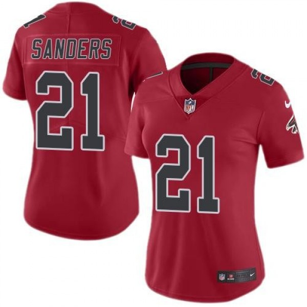 Women's Falcons #21 Deion Sanders Red Stitched NFL Limited Rush Jersey