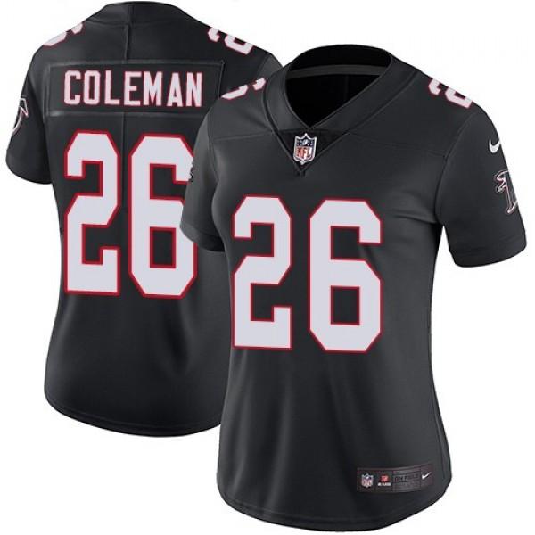 Women's Falcons #26 Tevin Coleman Black Alternate Stitched NFL Vapor Untouchable Limited Jersey