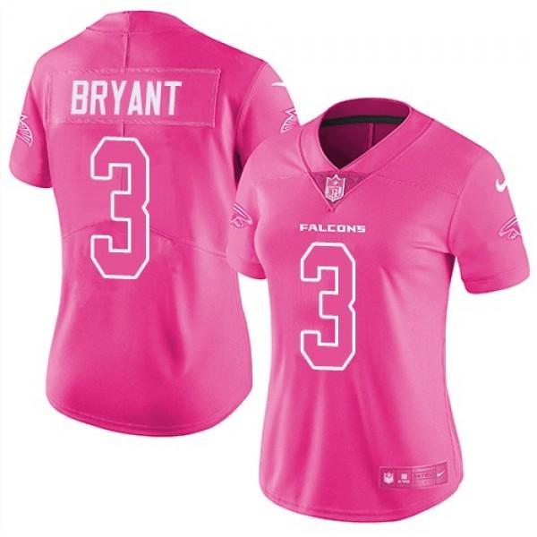 Women's Falcons #3 Matt Bryant Pink Stitched NFL Limited Rush Jersey