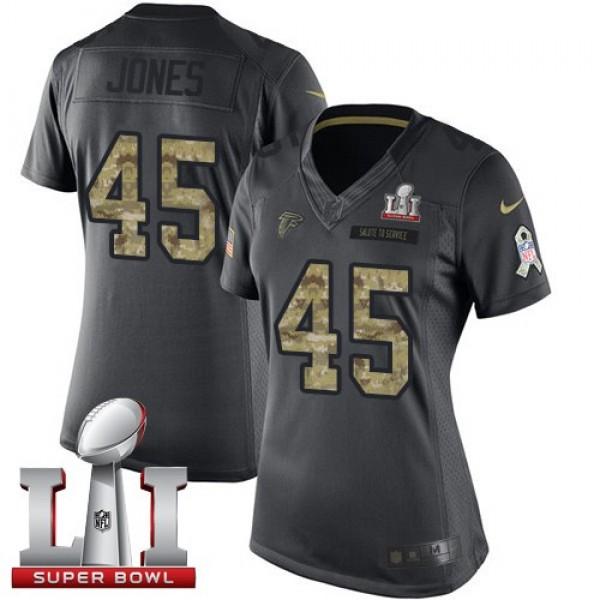 Women's Falcons #45 Deion Jones Black Super Bowl LI 51 Stitched NFL Limited 2016 Salute to Service Jersey