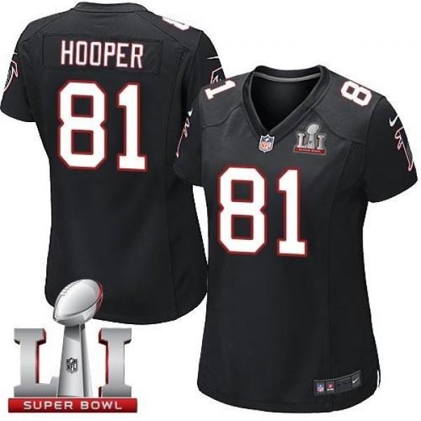 Women's Falcons #81 Austin Hooper Black Alternate Super Bowl LI 51 Stitched NFL Elite Jersey