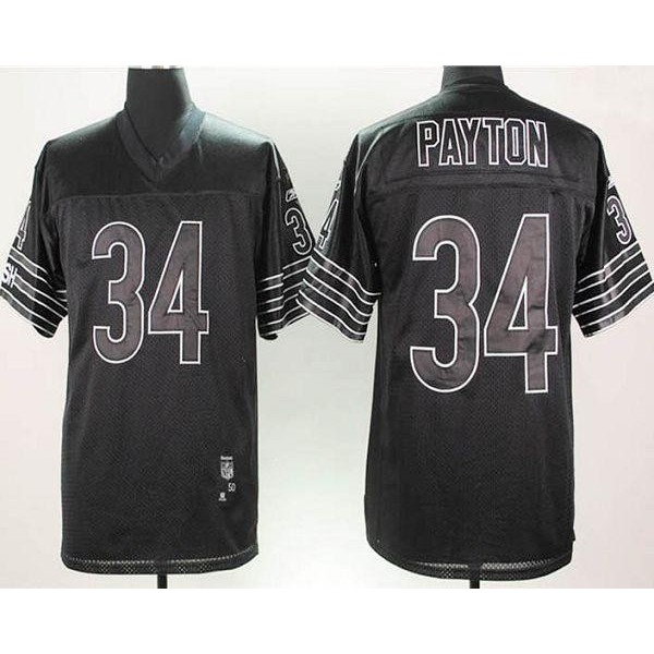 Bears #34 Walter Payton Black Shadow Stitched NFL Jersey