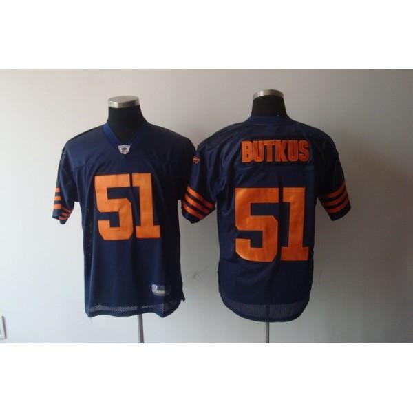 Bears #51 Dick Butkus Blue/Orange 1940s Throwback Stitched NFL Jersey