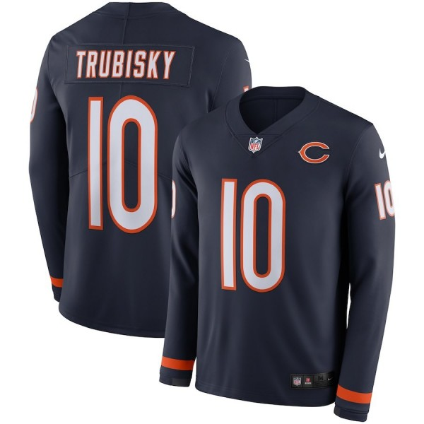 Men's Bears #10 Mitchell Trubisky Navy Blue Team Color Men's Stitched NFL Limited Therma Long Sleeve Jersey