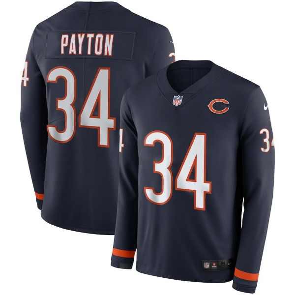 Men's Bears #34 Walter Payton Navy Blue Team Color Men's Stitched NFL Limited Therma Long Sleeve Jersey