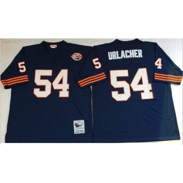 Mitchell&Ness Bears #54 Brian Urlacher Blue Big No. Throwback Stitched NFL Jersey