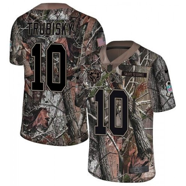 Nike Bears #10 Mitchell Trubisky Camo Men's Stitched NFL Limited Rush Realtree Jersey