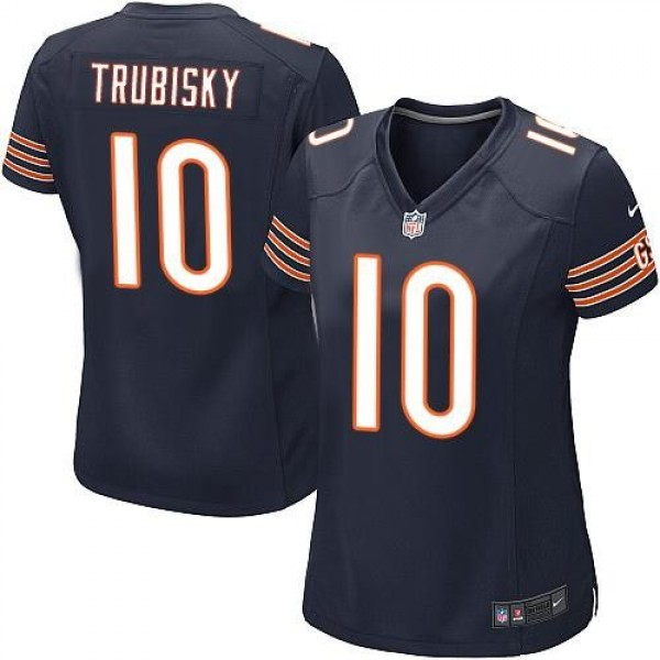 Women's Bears #10 Mitchell Trubisky Navy Blue Team Color Stitched NFL Elite Jersey