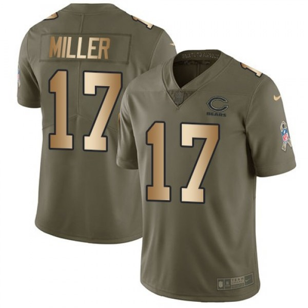 Nike Bears #17 Anthony Miller Olive/Gold Men's Stitched NFL Limited 2017 Salute To Service Jersey