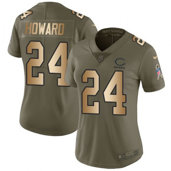 Women's Bears #24 Jordan Howard Olive Gold Stitched NFL Limited 2017 Salute to Service Jersey