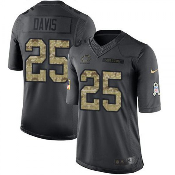 Nike Bears #25 Mike Davis Black Men's Stitched NFL Limited 2016 Salute to Service Jersey