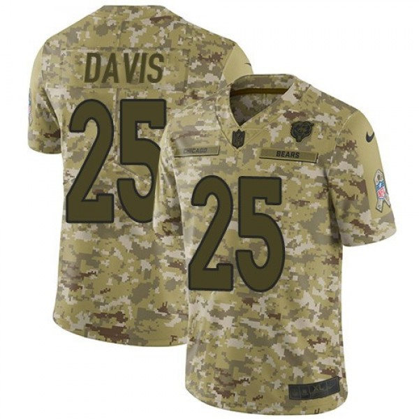 Nike Bears #25 Mike Davis Camo Men's Stitched NFL Limited 2018 Salute To Service Jersey