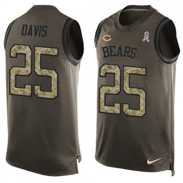 Nike Bears #25 Mike Davis Green Men's Stitched NFL Limited Salute To Service Tank Top Jersey