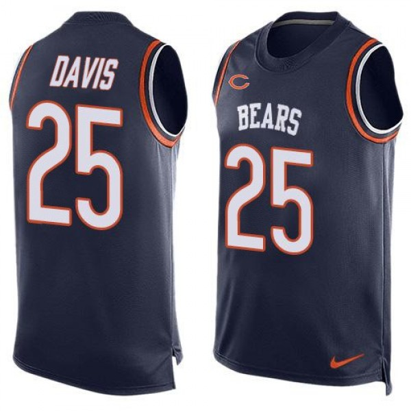 Nike Bears #25 Mike Davis Navy Blue Team Color Men's Stitched NFL Limited Tank Top Jersey