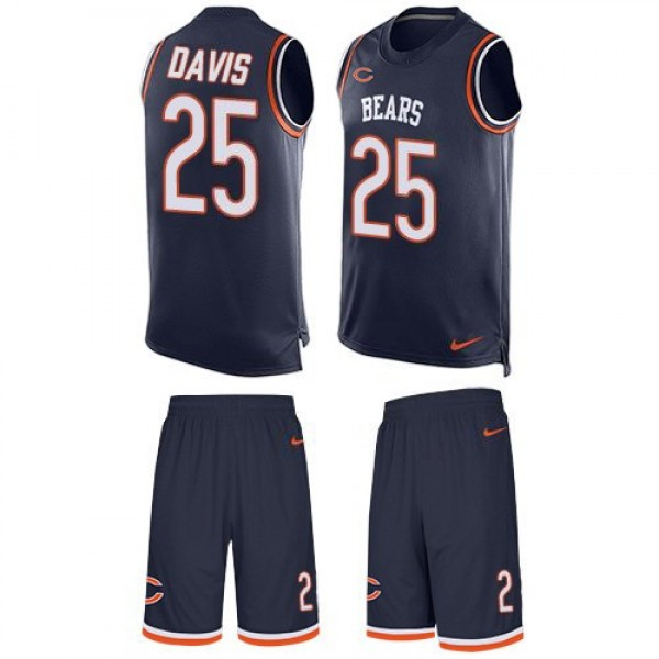 Nike Bears #25 Mike Davis Navy Blue Team Color Men's Stitched NFL Limited Tank Top Suit Jersey