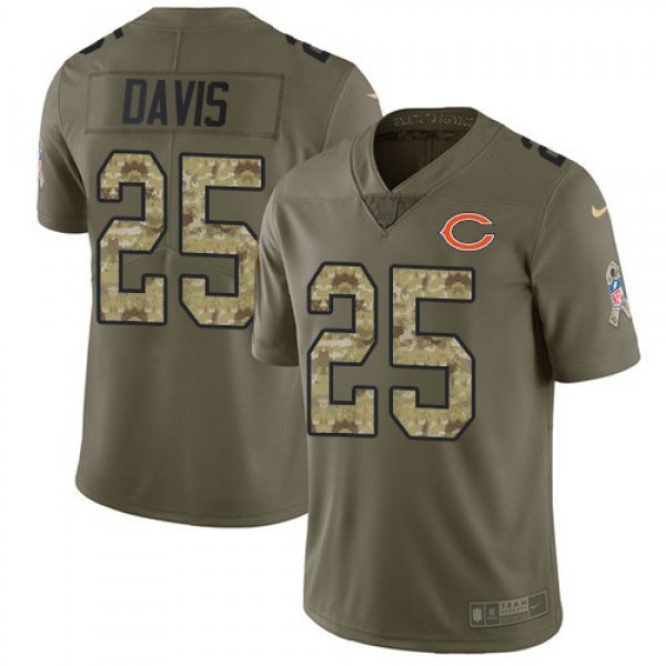 Nike Bears #25 Mike Davis Olive/Camo Men's Stitched NFL Limited 2017 Salute To Service Jersey