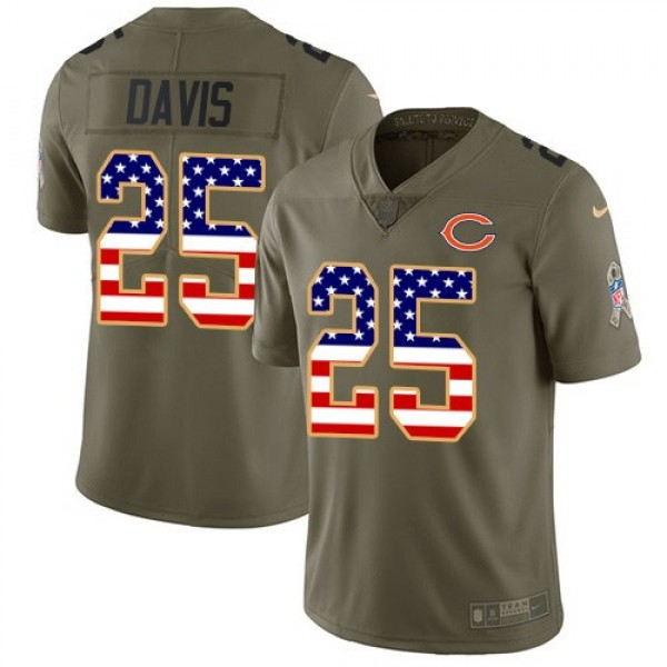 Nike Bears #25 Mike Davis Olive/USA Flag Men's Stitched NFL Limited 2017 Salute To Service Jersey