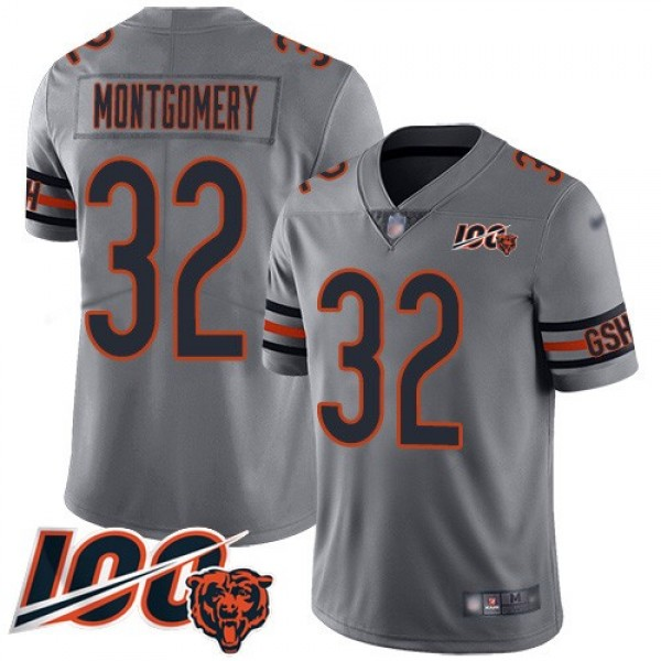 Nike Bears #32 David Montgomery Silver Men's Stitched NFL Limited Inverted Legend 100th Season Jersey