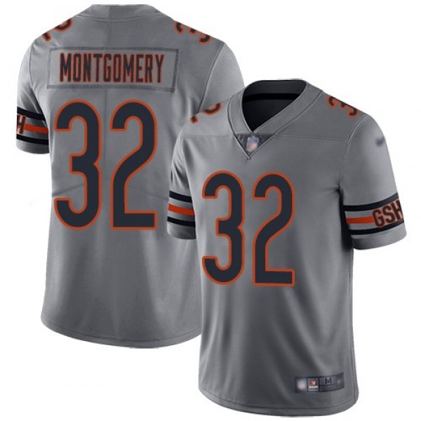 Nike Bears #32 David Montgomery Silver Men's Stitched NFL Limited Inverted Legend Jersey