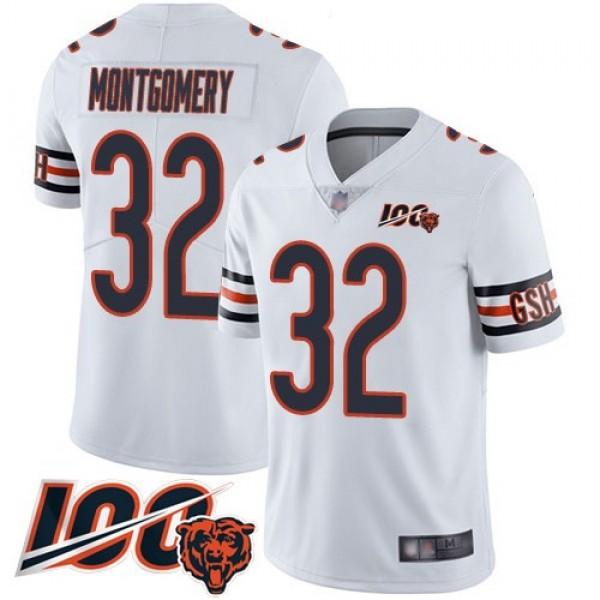 Nike Bears #32 David Montgomery White Men's Stitched NFL 100th Season Vapor Limited Jersey