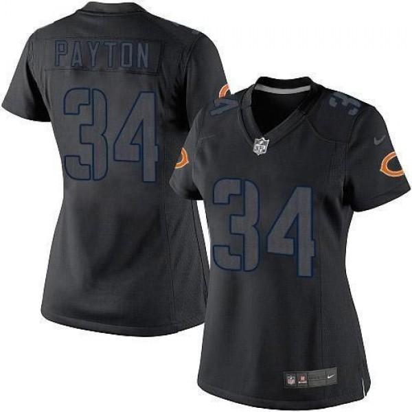 Women's Bears #34 Walter Payton Black Impact Stitched NFL Limited Jersey