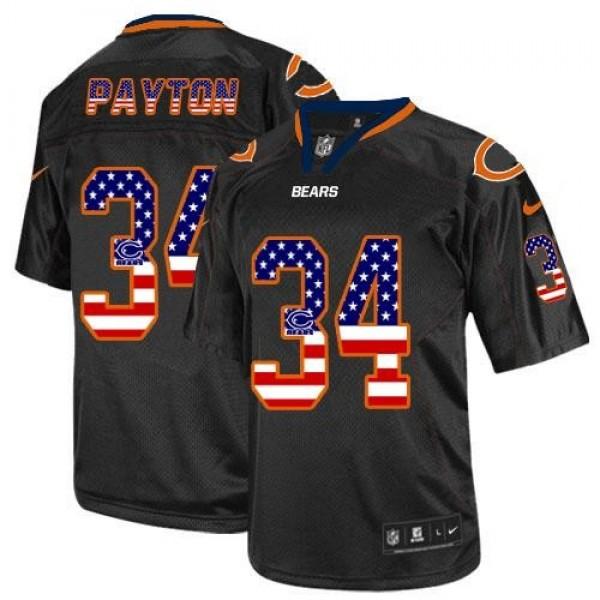Nike Bears #34 Walter Payton Black Men's Stitched NFL Elite USA Flag Fashion Jersey