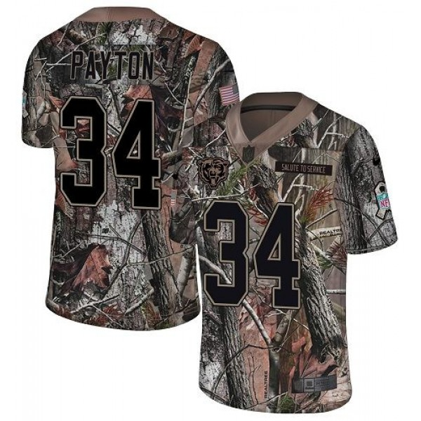 Nike Bears #34 Walter Payton Camo Men's Stitched NFL Limited Rush Realtree Jersey