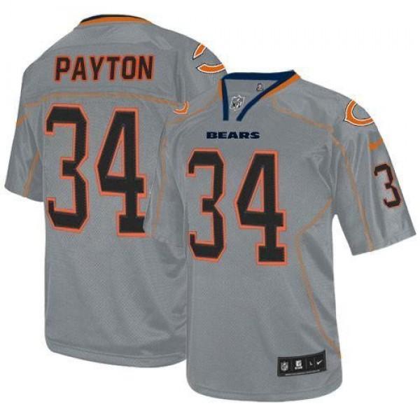 Nike Bears #34 Walter Payton Lights Out Grey Men's Stitched NFL Elite Jersey