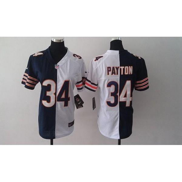 Women's Bears #34 Walter Payton Navy Blue White Stitched NFL Elite Split Jersey
