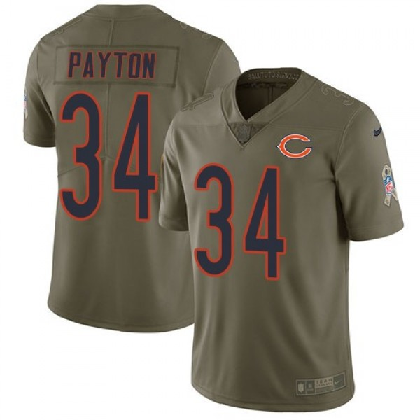 Nike Bears #34 Walter Payton Olive Men's Stitched NFL Limited 2017 Salute To Service Jersey