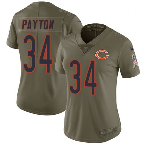 Women's Bears #34 Walter Payton Olive Stitched NFL Limited 2017 Salute to Service Jersey