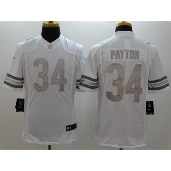 Nike Bears #34 Walter Payton White Men's Stitched NFL Limited Platinum Jersey