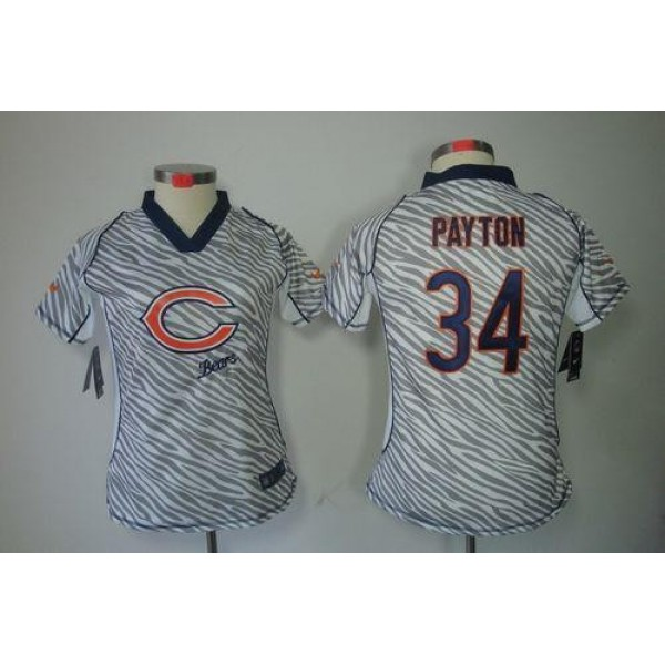 Women's Bears #34 Walter Payton Zebra Stitched NFL Elite Jersey