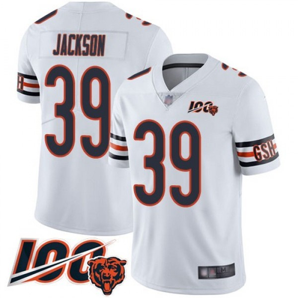 Nike Bears #39 Eddie Jackson White Men's Stitched NFL 100th Season Vapor Limited Jersey