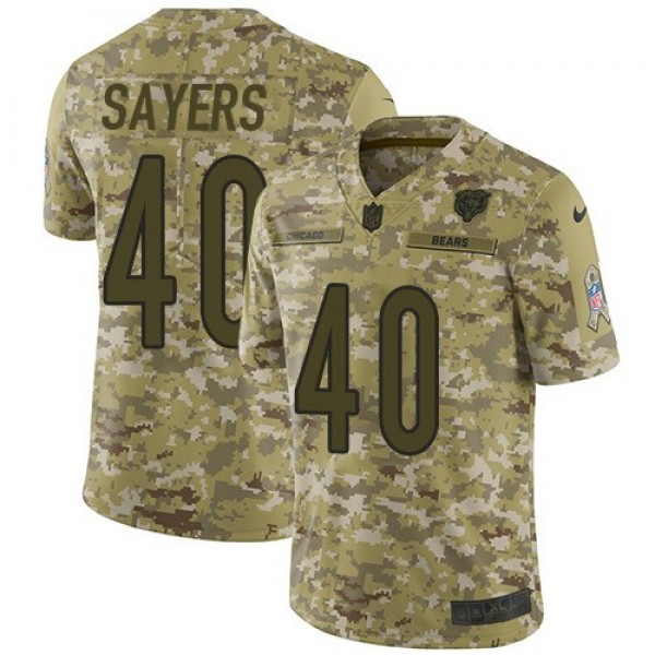 Nike Bears #40 Gale Sayers Camo Men's Stitched NFL Limited 2018 Salute To Service Jersey