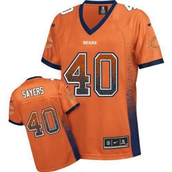 Women's Bears #40 Gale Sayers Orange Alternate Stitched NFL Elite Drift Jersey