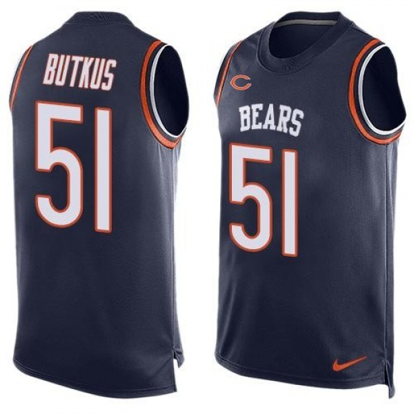 Nike Bears #51 Dick Butkus Navy Blue Team Color Men's Stitched NFL Limited Tank Top Jersey
