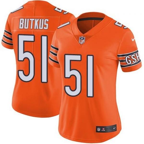 Women's Bears #51 Dick Butkus Orange Stitched NFL Limited Rush Jersey