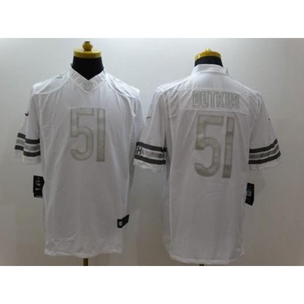 Nike Bears #51 Dick Butkus White Men's Stitched NFL Limited Platinum Jersey