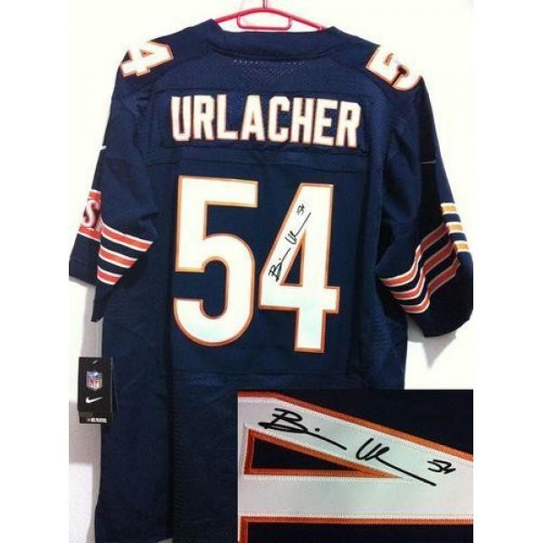 Nike Bears #54 Brian Urlacher Navy Blue Team Color Men's Stitched NFL Elite Autographed Jersey