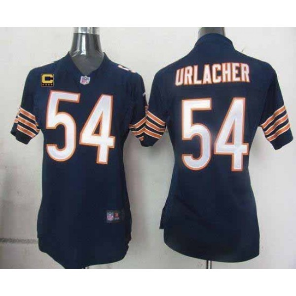 Women's Bears #54 Brian Urlacher Navy Blue Team Color With C Patch Stitched NFL Elite Jersey