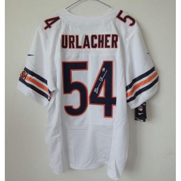 Nike Bears #54 Brian Urlacher White Men's Stitched NFL Elite Autographed Jersey