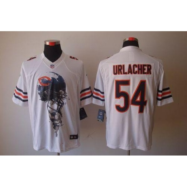 Nike Bears #54 Brian Urlacher White Men's Stitched NFL Helmet Tri-Blend Limited Jersey