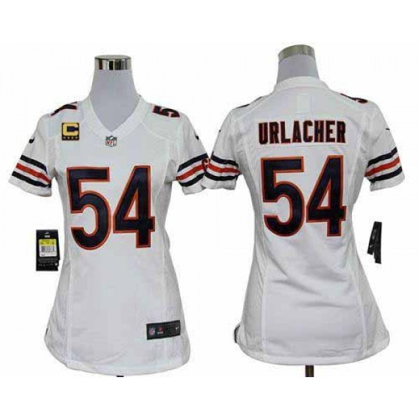 Women's Bears #54 Brian Urlacher White With C Patch Stitched NFL Elite Jersey