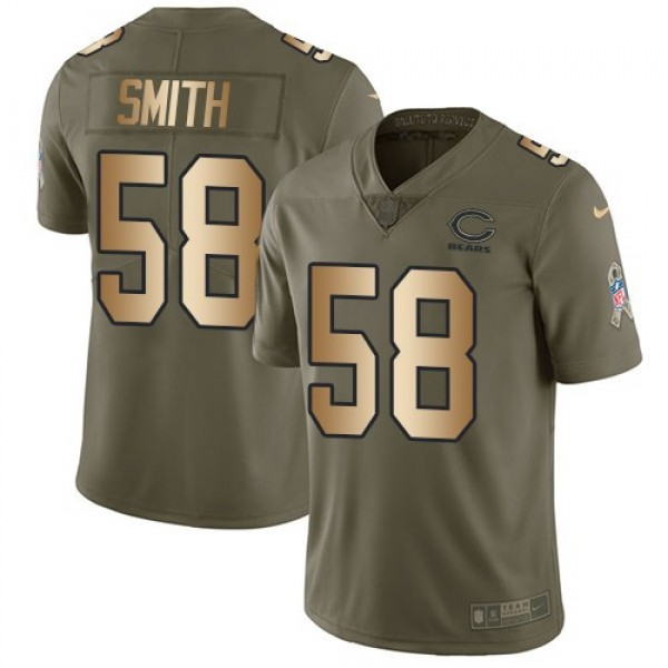 Nike Bears #58 Roquan Smith Olive/Gold Men's Stitched NFL Limited 2017 Salute To Service Jersey