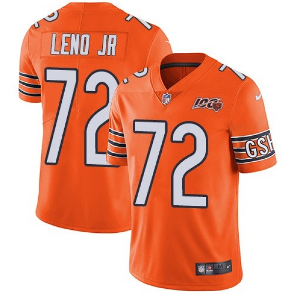 Nike Bears #72 Charles Leno Jr Orange Men's 100th Season Stitched NFL Limited Rush Jersey
