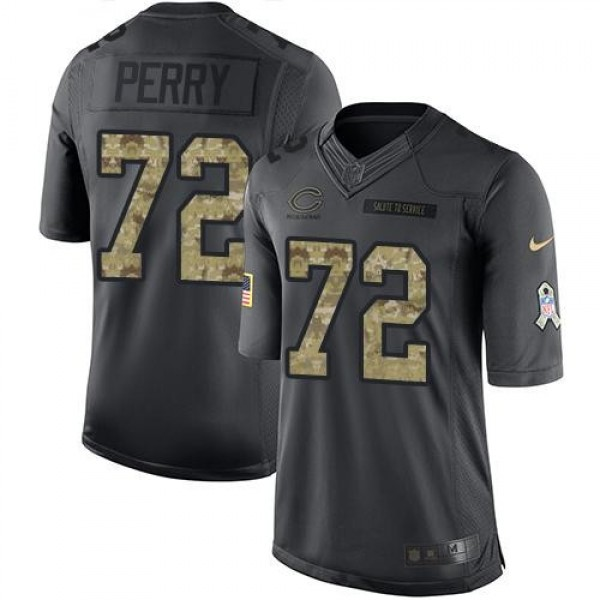 Nike Bears #72 William Perry Black Men's Stitched NFL Limited 2016 Salute to Service Jersey