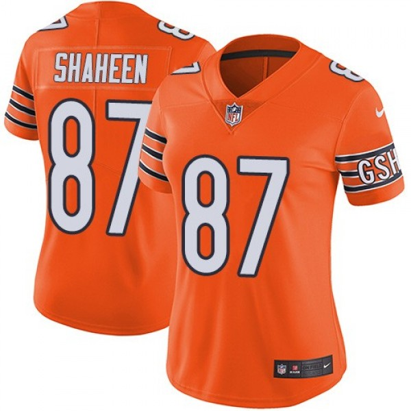 Women's Bears #87 Adam Shaheen Orange Stitched NFL Limited Rush Jersey