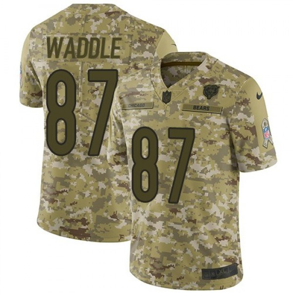 Nike Bears #87 Tom Waddle Camo Men's Stitched NFL Limited 2018 Salute To Service Jersey